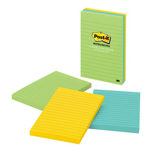 Post-it Notes 660-3AU Jaipur Collection Lined 101x152mm Pkt/3