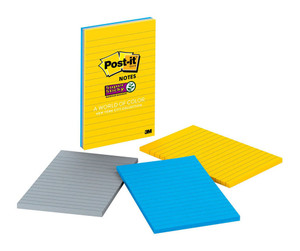 Post-it Super Sticky Lined Notes 660-3SSNY New York 101x152mm 90 sheet pads Pkt/3