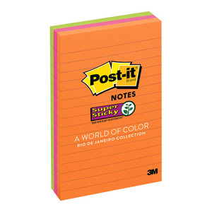Post-it Super Sticky Lined Notes 660-3SSUC Rio De Janiero 101x152mm 90 sheet pads Pkt/3