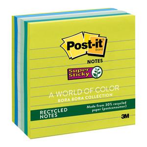 Post-it Recycled Super Sticky Lined Notes 675-6SST Bora Bora 101x101mm 90 sheet pads Pkt/6