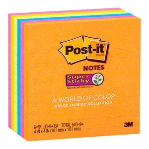 Post-it Super Sticky Lined Notes 675-6SSUC Rio De Janiero 101x101mm 90 sheet pads Pkt/6