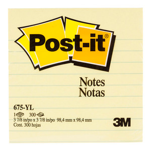 Post-it Notes 675-YL Lined  Yellow 101x101mm 300 sheet pads