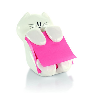 Post-it Pop Up Note Dispenser CAT-330 Cat White w 50 sheet refill pad