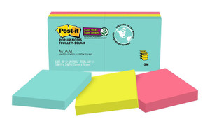 Post-it Super Sticky Pop-Up Notes R330-6SSMIA 76x76mm Miami, Pack of 6