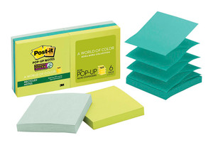 Post-it Recycled Super Sticky Pop-Up Note Refills R330-6SST Bora Bora 76x76mm 90 sheet pads Pkt/6