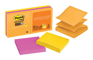 Post-it Super Sticky Pop Up Notes R330-6SSUC Rio Collection 90 sheet pads Pkt/6