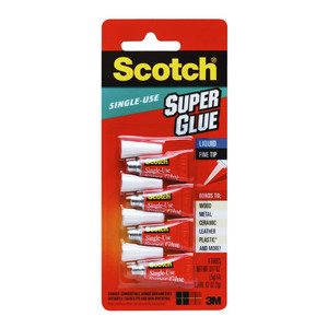 Scotch Adhesive AD114 Super Glue One Drop 0.5g per tube Pkt/4 Tubes