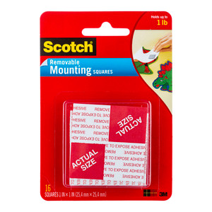 Scotch Mounting Squares Removable 108 25.4x5.4mm Pkt/16