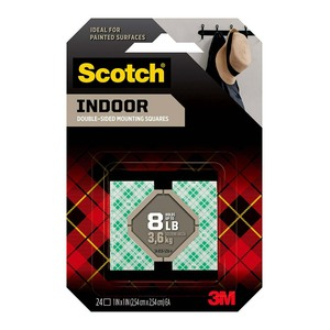 Scotch Indoor Mounting Squares 111S-SQ-24 25mm, Pack of 24