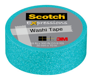 Scotch Expressions Glitter Washi Tape C514-BLU3 15mm x 5m Pastel Blue