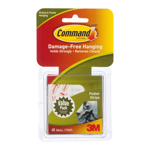 Command Poster Strips 17024-48ES Small White Value Pk/48