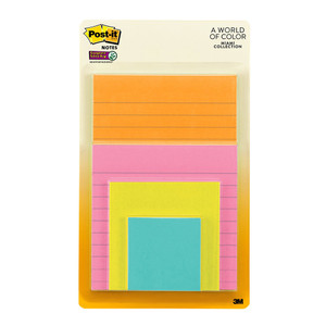 Post-it Super Sticky Notes 4622-SSMIA Combo Pack Miami Collection Lined & Unlined Pkt/4