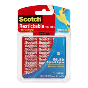 Scotch Restickable Mounting Tabs R103 13x13mm Pkt/72 tabs