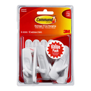 Command Hook 17001-6 Medium White Value Pk/6