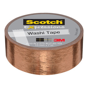 Scotch Expressions Foil Washi Tape C614-CPR 15mm x 7m Copper