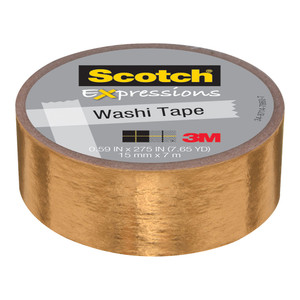Scotch Expressions Foil Washi Tape C614-GLD 15mm x 7m Gold