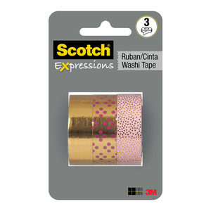 Scotch Expressions Foil Washi Tape C617-3PK-GLD 15mm x 7m Gold Multi Pack