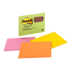 Post-it Super Sticky Lined Notes 660-SS Asst Colours 101mm x 152mm 90 sheet pads Pkt/1