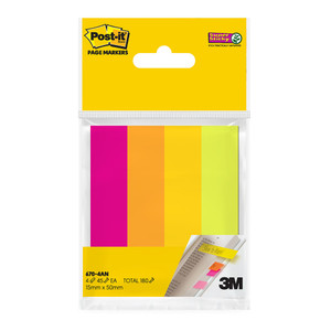 Post-it Super Sticky Page Markers 670-4AN Assorted Neon  15mm x 50mm 45 sheet pads Pkt/4
