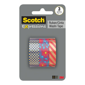 Scotch Expressions Washi Tape C1017-3-P1 15mm x 10m Multi Pack/3