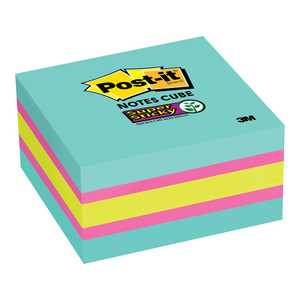 Post-it Super Sticky Memo Cube 2027-SSAFG 76mm x 76mm 360 sheet cube