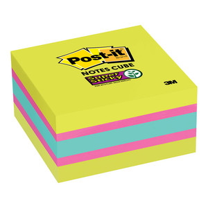 Post-it Super Sticky Memo Cube 2027-SSGFA 76mm x 76mm 360 sheet cube