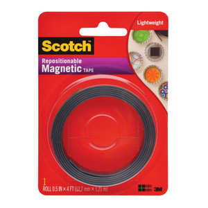 Scotch Repositionable Magnetic Tape MT004.5 12.7mm x 1.22m Black