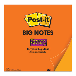 Post-it Super Sticky Big Notes BN11 Orange 279 x 279mm 30 Sheet Pads