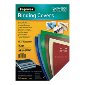 Fellowes Binding Covers A4 250gsm Black Pack 100