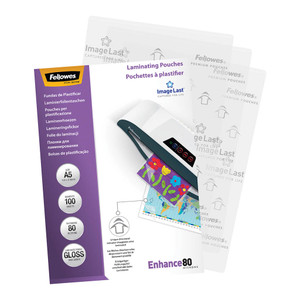 Fellowes Laminating Pouches A5 Gloss 80 Micron Pack 100