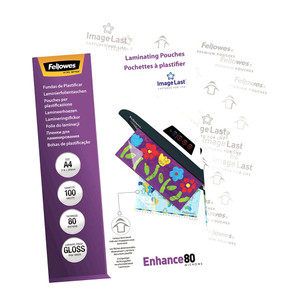 Fellowes Laminating Pouches A4 Gloss 80 Micron Pack 100