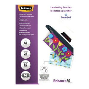 Fellowes Laminating Pouches A4 Gloss 80 Micron Pack of 25