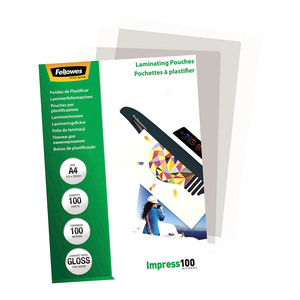 Fellowes Laminating Pouches A4 Gloss 100 Micron Pack of 100