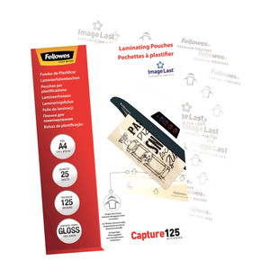 Fellowes Laminating Pouches A4 Gloss 125 Micron Pack 25