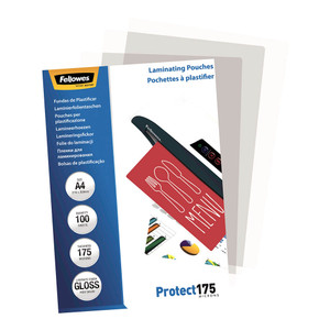 Fellowes Laminating Pouches A4 Gloss 175 Micron, Pack of 100