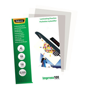 Fellowes Laminating Pouches A3 Gloss 100 Micron Pack 100
