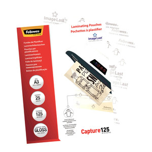Fellowes Laminating Pouches A3 Gloss 125 Micron Pack 25