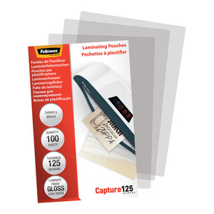 Fellowes Laminating Pouches 54x86mm 125 Micron Pack of 100