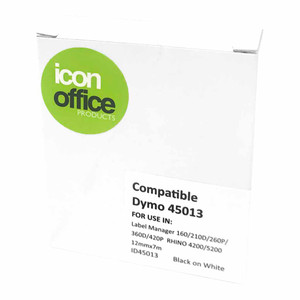 Icon Compatible Dymo D1 Label Tape 12mmx7m Black on White