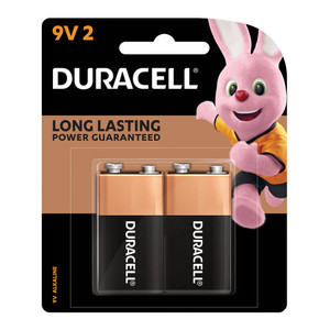 Duracell Coppertop Alkaline 9V Battery Pack of 2