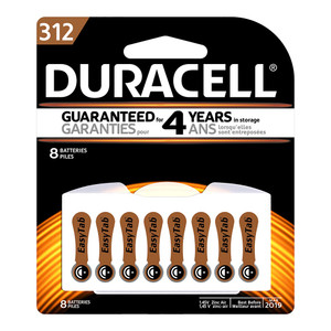 Duracell Hearing Aid 312 Battery Pack of 8