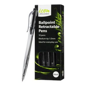 Icon Ballpoint Retractable Pens Medium Black Pack of 10