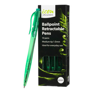 Icon Ballpoint Retractable Pens Medium Green Pack 10