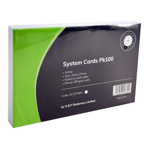OSC System Cards 203 x 127mm White Pack 100