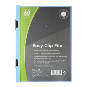 OSC Clip Easy File A3 Light Blue 60 Sheet
