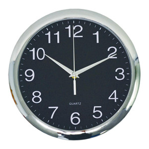 Italplast Wall Clock 30cm Chrome Black