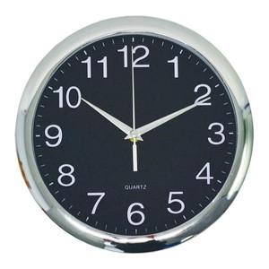 Italplast Wall Clock 300mm Chrome Black