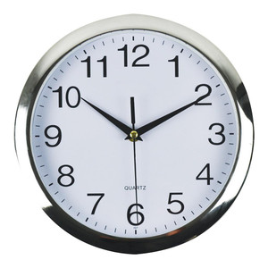 Italplast Wall Clock 26cm Chrome White