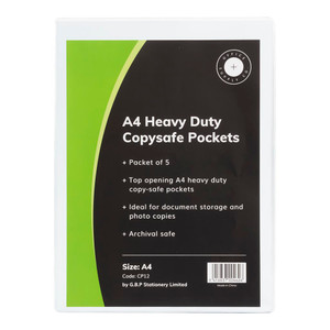 OSC Copysafe Pockets Heavy Duty A4 Unpunched Pack of 5