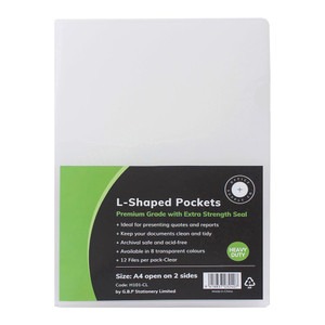 OSC L Shaped Pockets A4 Clear Pack 12